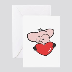 Pig Valentine/Heart Greeting Card