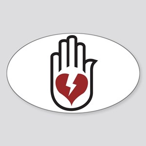 Hand On Heart Oval Sticker