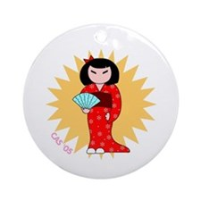 Little Miss Keepsake Round Ornament