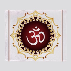 Om Design Sacred Sound Spiritual Med Throw Blanket