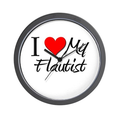 I Heart My Flautist Wall Clock