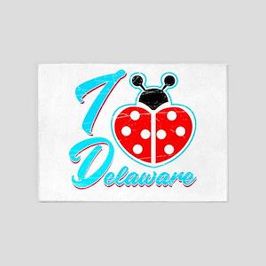 I Heart Delaware , I Love Delaware 5'x7'Area Rug