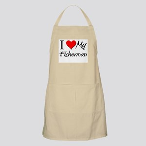 I Heart My Fisherman BBQ Apron