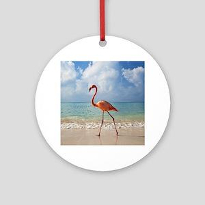 Flamingo On The Beach Round Ornament