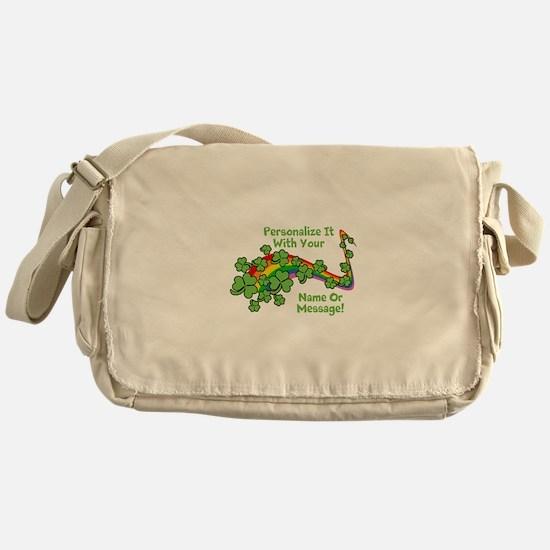 PERSONALIZED Rainbow And Shamrocks Messenger Bag