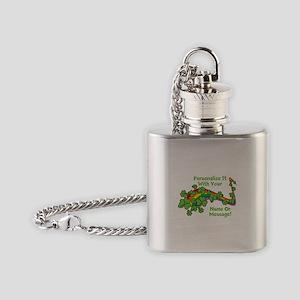PERSONALIZED Rainbow And Shamrocks Flask Necklace