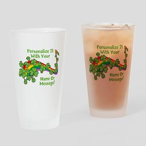 PERSONALIZED Rainbow And Shamrocks Drinking Glass