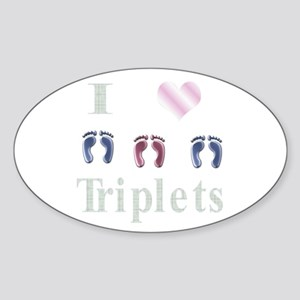 I love triples two boys and a Oval Sticker