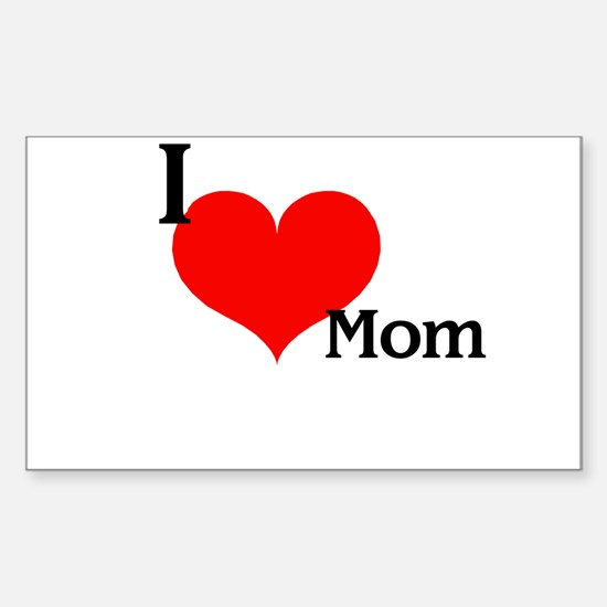 Love Mom Rectangle Decal