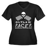 OUTLAW RACER Women's Plus Size V-Neck Dark T-Shirt