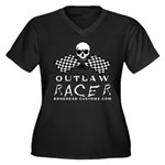 OUTLAW RACER Women's Plus Size V-Neck Dark T-Shirt