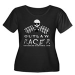 OUTLAW RACER Women's Plus Size Scoop Neck Dark T-S