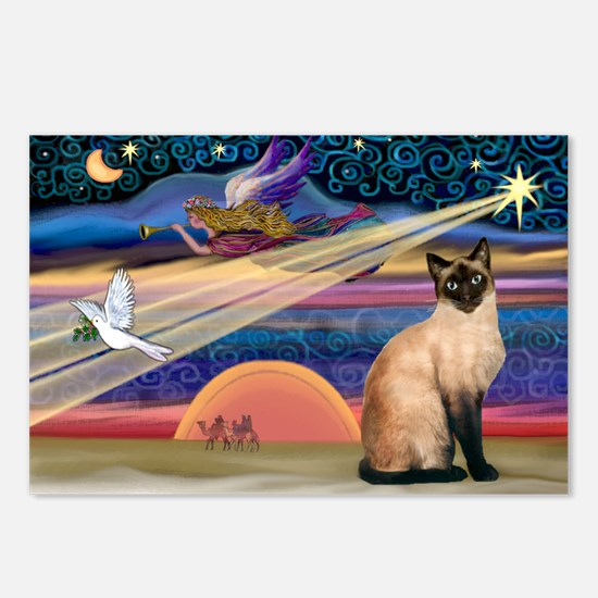 Xmas Star / Siamese Postcards (Package of 8)