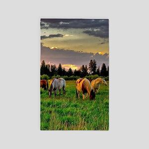 Horses Grazing Area Rug