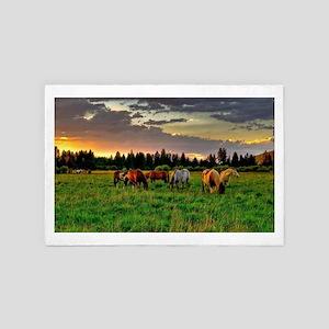 Horses Grazing 4' x 6' Rug