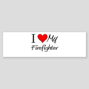 I Heart My Firefighter Bumper Sticker