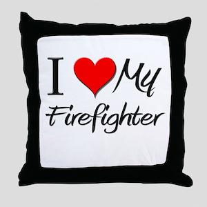 I Heart My Firefighter Throw Pillow