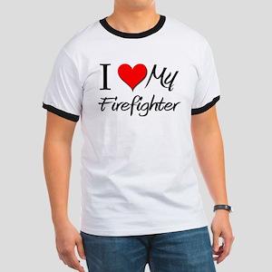 I Heart My Firefighter Ringer T