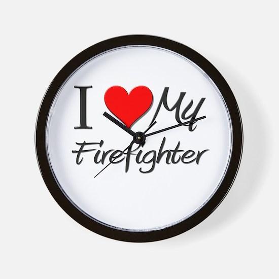I Heart My Firefighter Wall Clock