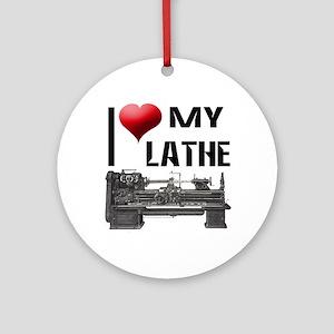 I Heart (Love) My Lathe Ornament (Round)