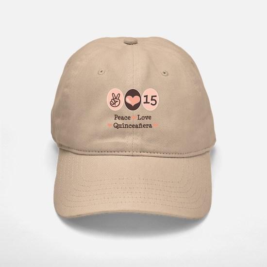 Peace Love Quinceanera Baseball Baseball Cap