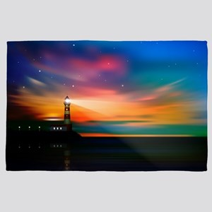 Sunrise Over The Sea And Lighthouse 4' x 6' Rug