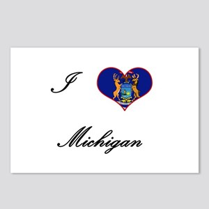 I Love (Heart) Michigan Postcards (Package of 8)