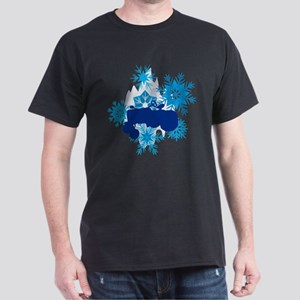 Snowflake Tractor Holiday Dark T-Shirt