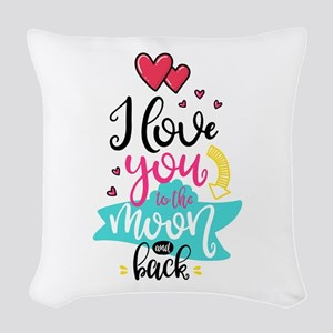 To The Moon & Back Woven Throw Pillow