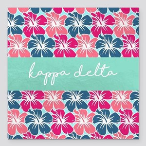 "Kappa Delta Flowers Square Car Magnet 3"" x 3"""