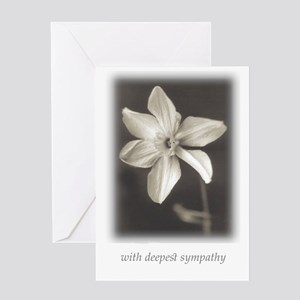 Black and white photography greeting cards cafepress narcissus w deepest sympathy greeting cards m4hsunfo