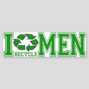 I Recycle Men Bumper Sticker
