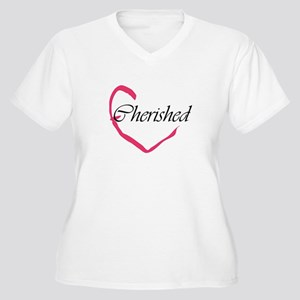 Cherished Heart Women's Plus Size V-Neck T-Shirt