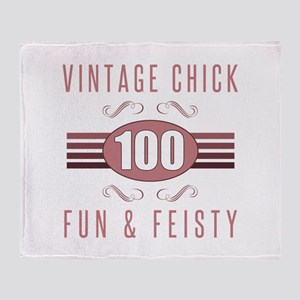 100th Birthday Vintage Chick Throw Blanket