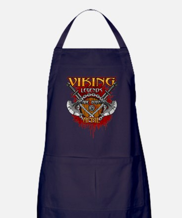 Viking Legends are Born in April Apron (dark)
