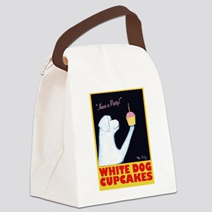 White Dog Cupcakes Canvas Lunch Bag