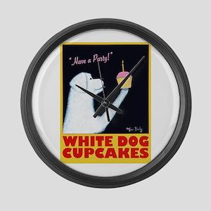 White Dog Cupcakes Large Wall Clock