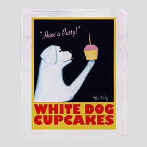 White Dog Cupcakes Throw Blanket