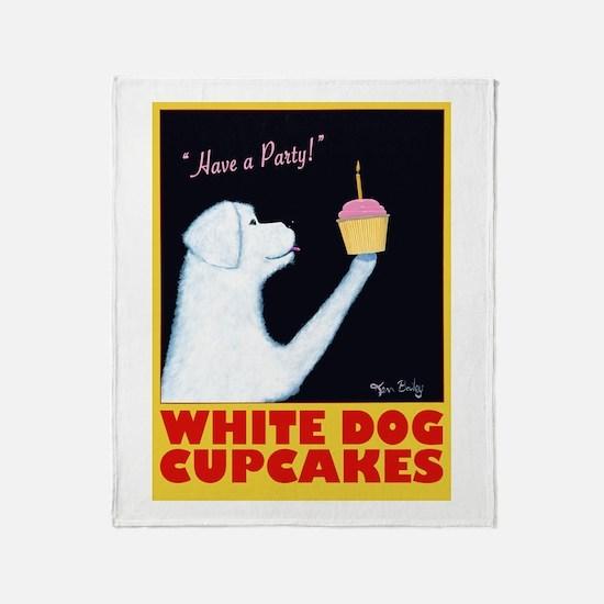 White Dog Cupcakes Throw Blanket