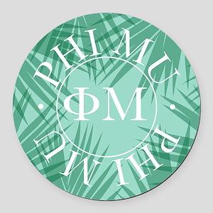 Phi Mu Leaves Round Car Magnet