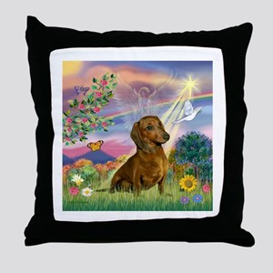 Cloud Angel & Dachshund Throw Pillow