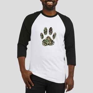 Distressed Camo Dog Paw Print Baseball Jersey