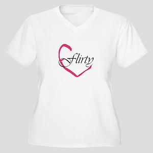Flirty Heart Women's Plus Size V-Neck T-Shirt
