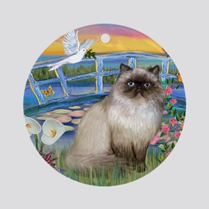 Lilies / Himalayan Cat Ornament (Round)