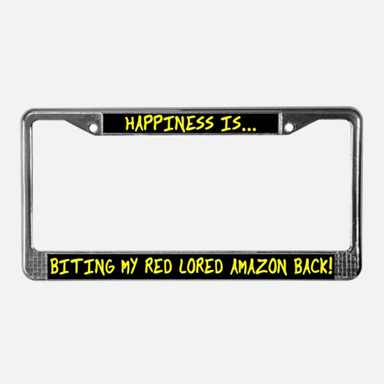 HI Biting Red Lored Amazon License Plate Frame