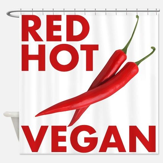 Red Hot Vegan Shower Curtain