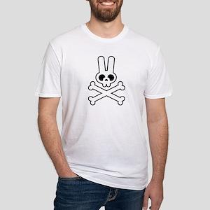 White Bunny Rabbit Skull Fitted T-Shirt