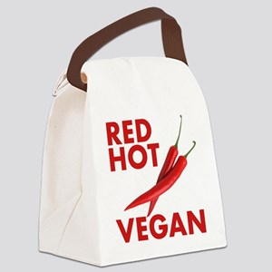 Red Hot Vegan Canvas Lunch Bag