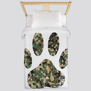 Distressed Camo Dog Paw Print Twin Duvet Cover