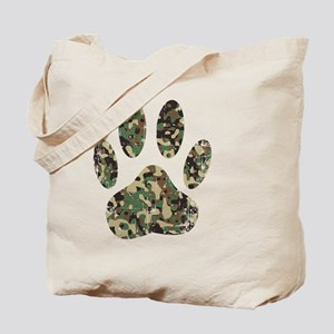 Distressed Camo Dog Paw Print Tote Bag